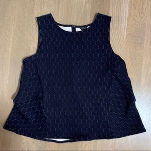 Navy Top with ruffles in back
